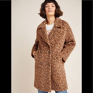 NWT Anthropologie Henrietta Leopard faux fur Coat